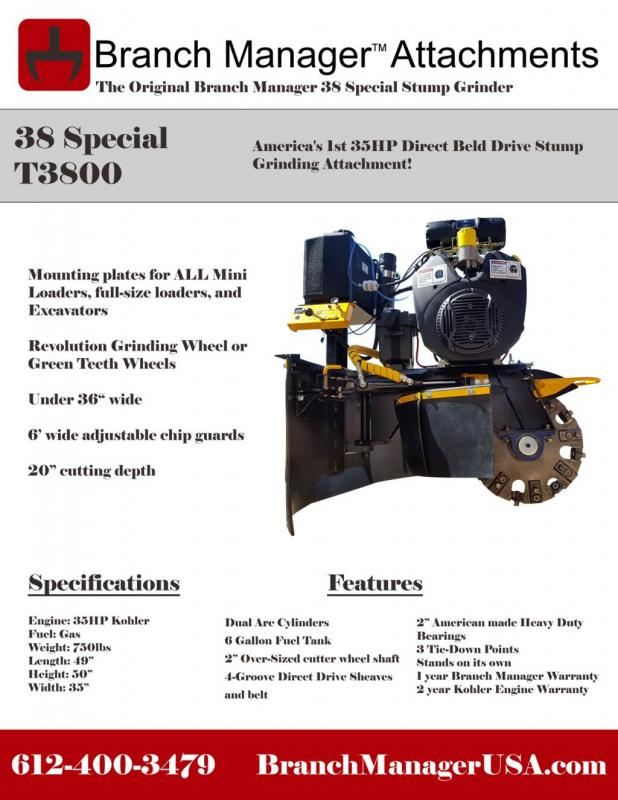 2021 Branch Manager T3800 38 Special Stump Grinder- Direct Drive 35HP Skid Steer Attachment