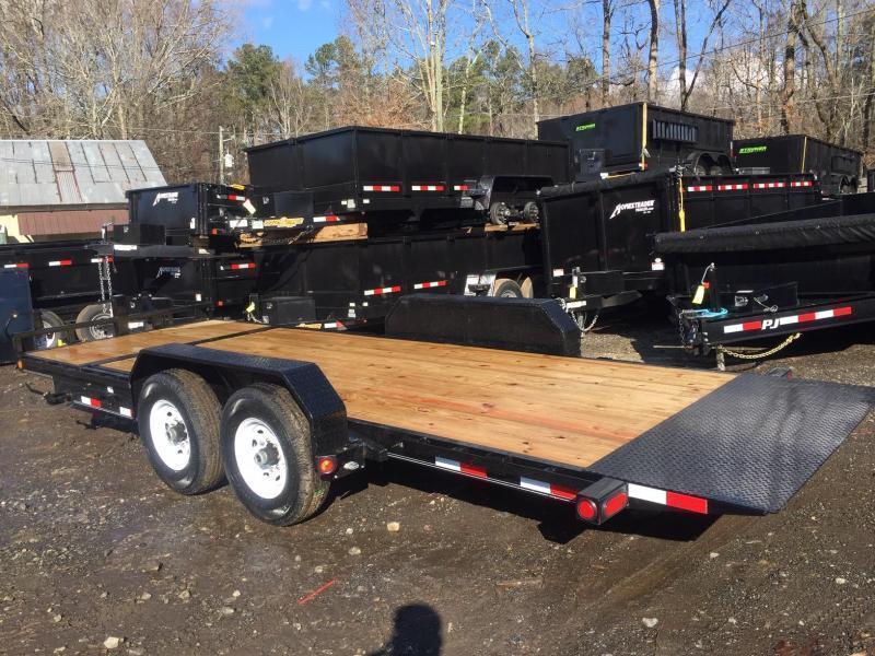 2022 PJ Trailers 7x22 16k 7 ton Tilt Deck Equipment / Car Hauler Gravity Partial Deck Removable Fenders