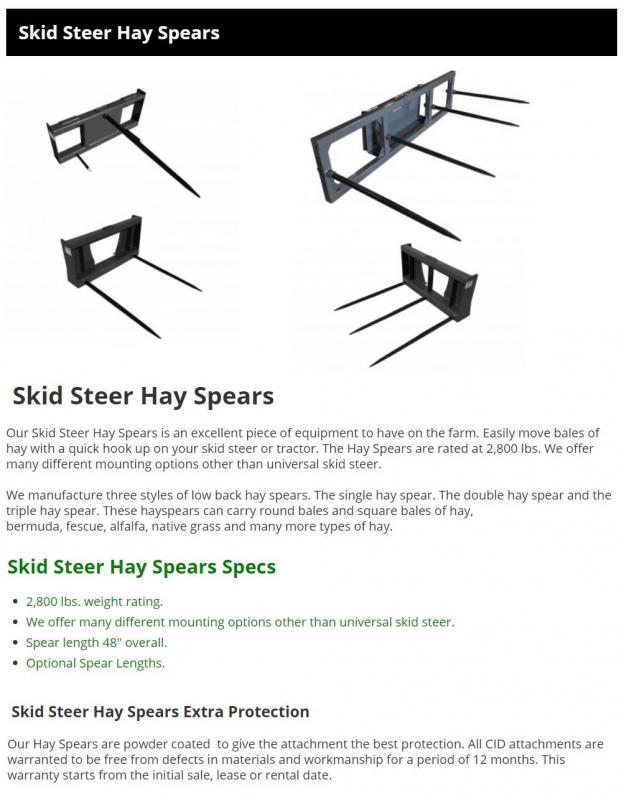 2021 Low Back Hay Spear CID LBHS Skid Steer Attachment