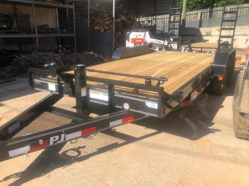 2021 PJ 7x18 14k Equipment Trailer Fold Up Ramps