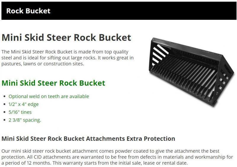 """2021 44"""" Rock Bucket CID DRB44 Mini Skid Steer Universal Attachment"""