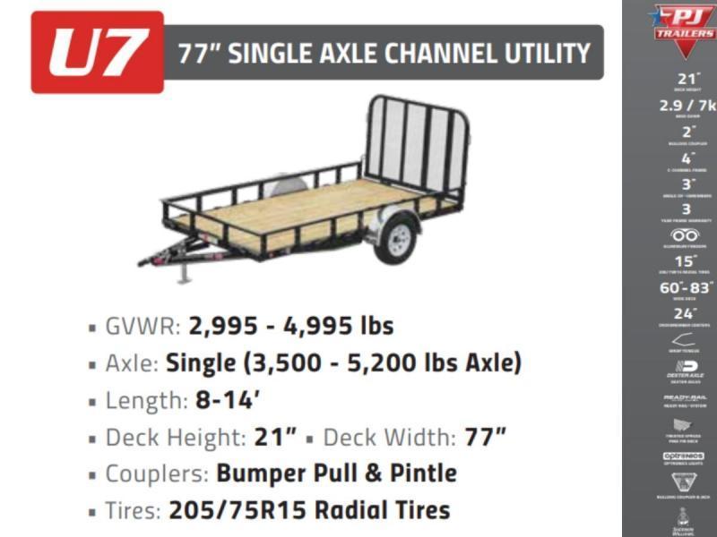 2022 PJ 6.5x14 3.5K 1ft Open/Removable Sides Utility Trailer