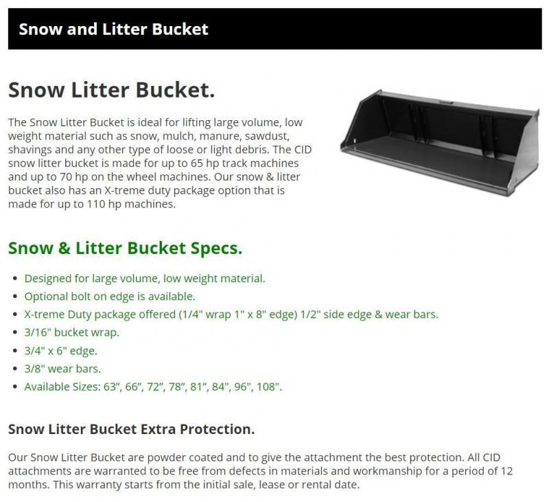 """2021 96"""" CID Snow & Litter Bucket, 36"""" Floor SNLB96 Skid Steer Attachment"""