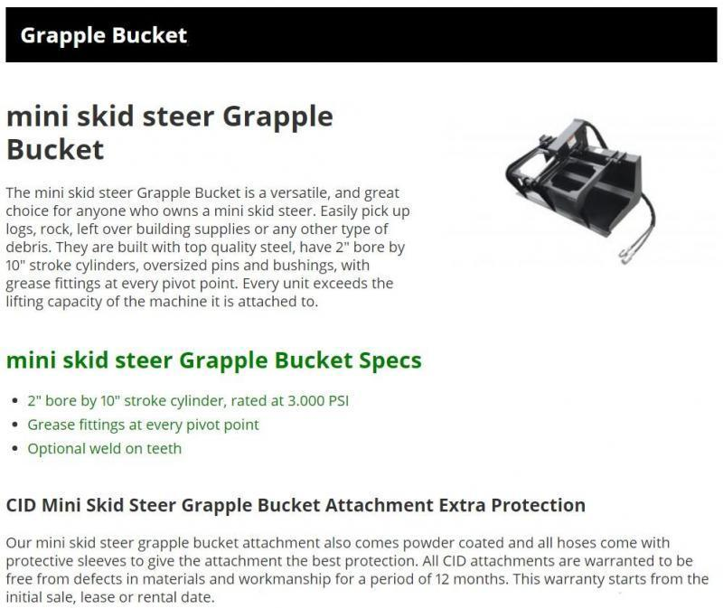 "2021 48"" Solid Floor Single Cylinder Grapple with Teeth CID DGB48WT Mini Skid Steer Universal Attachment"