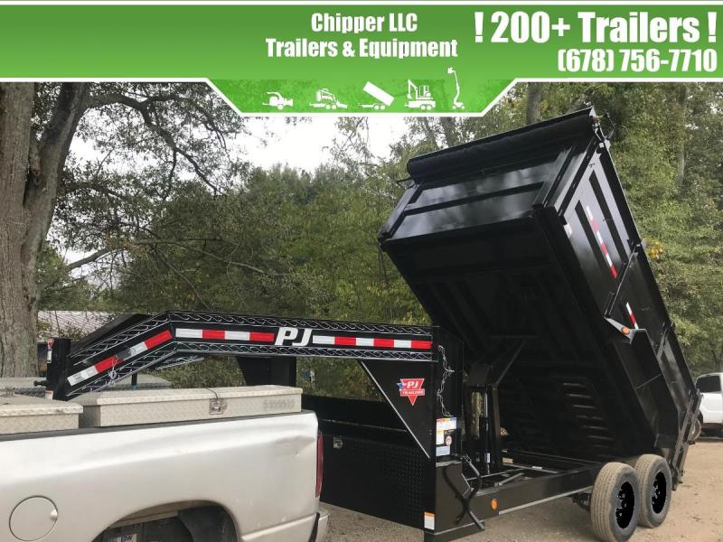 2021 PJ 7x14 14K 4ft Gooseneck Barn Door Spread Gate Dump Trailer