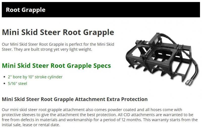 "2021 48"" Dual Cylinder HD Root Grapple CID CTDRG48 Mini Skid Steer Universal Attachment"