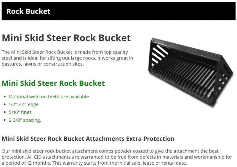 """2021 48"""" Rock Bucket CID MTRB48 MT55/MT85 Mini Skid Steer Attachment"""