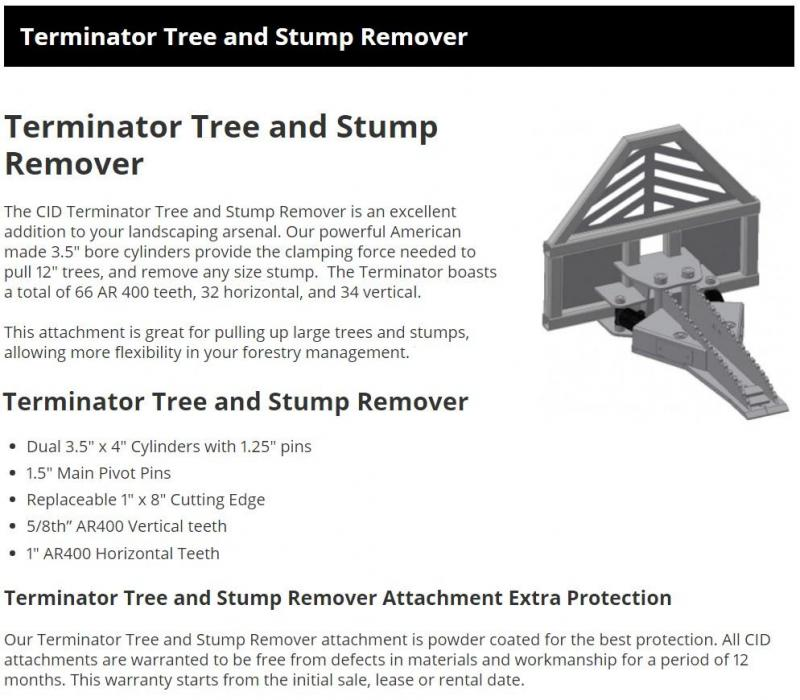 2021 CID Terminator Tree and Stump Remover TTSR Skid Steer Attachment