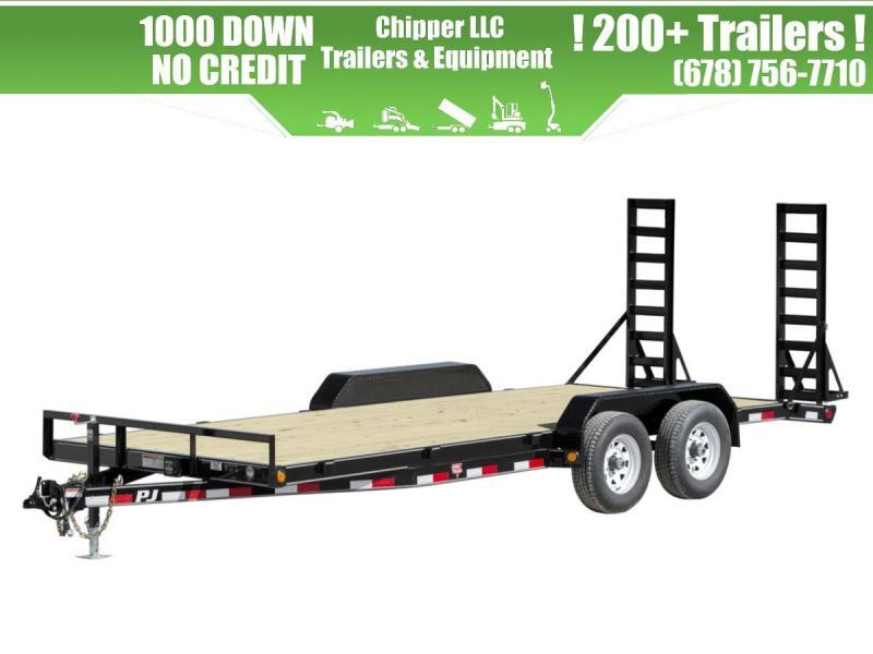 2021 PJ 7x18 10K Equipment Trailer Fold Up Ramps