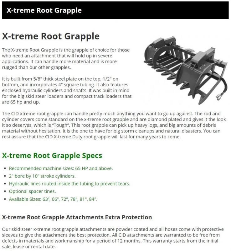 """2021 78"""" Extreme Root Grapple CID XRG78 Skid Steer Attachment"""