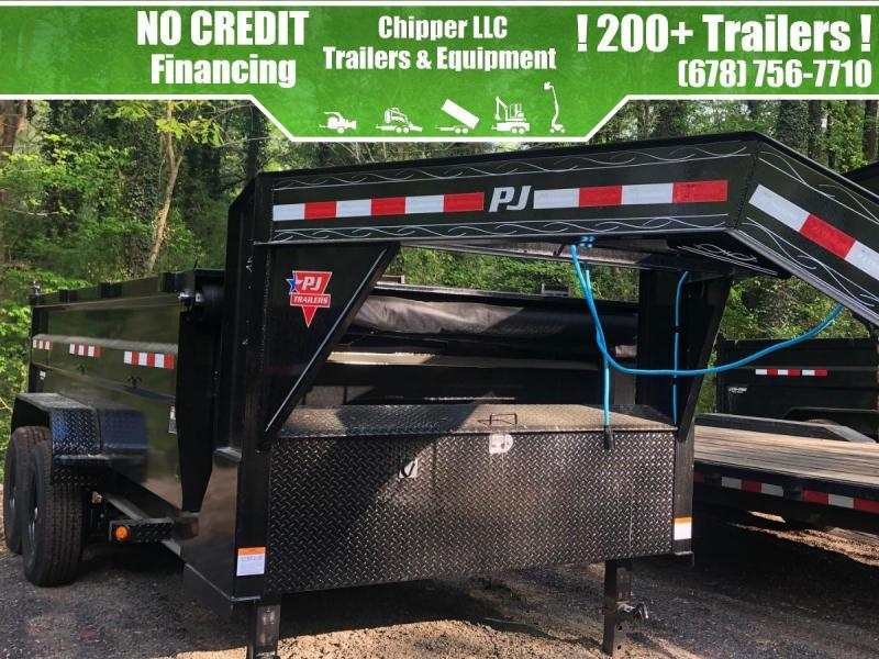 2021 PJ 7x14 14K 3ft Gooseneck Barn Door Spread Gate Dump Trailer