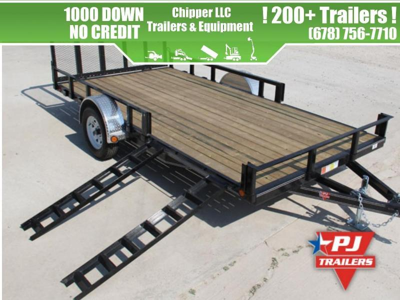 2021 PJ 7x14 3.5K 1ft Side Ramps Open/Removable Sides Utility Trailer