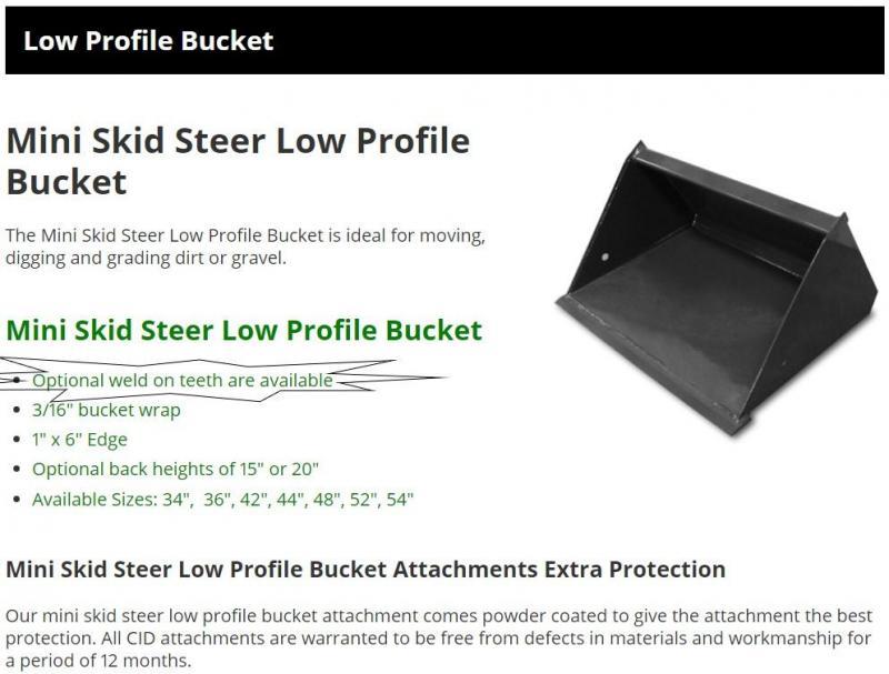 "2021 36"" Low Profile Smooth Bucket with teeth CID MTLPB36WT MT55/MT85 Mini Skid Steer Attachment"