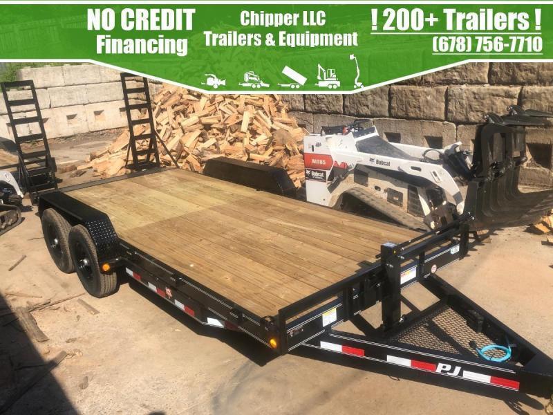 2022 PJ 7x16 14k Equipment Trailer Fold Up Ramps