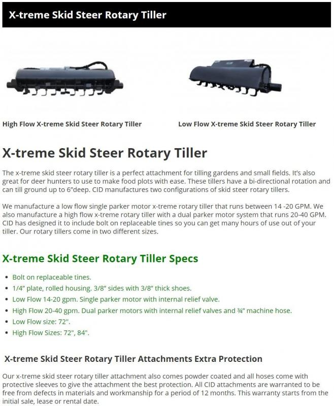 "2021 72"" Extreme Duty Rotary Tiller CID XTLF72 Skid Steer Attachment"