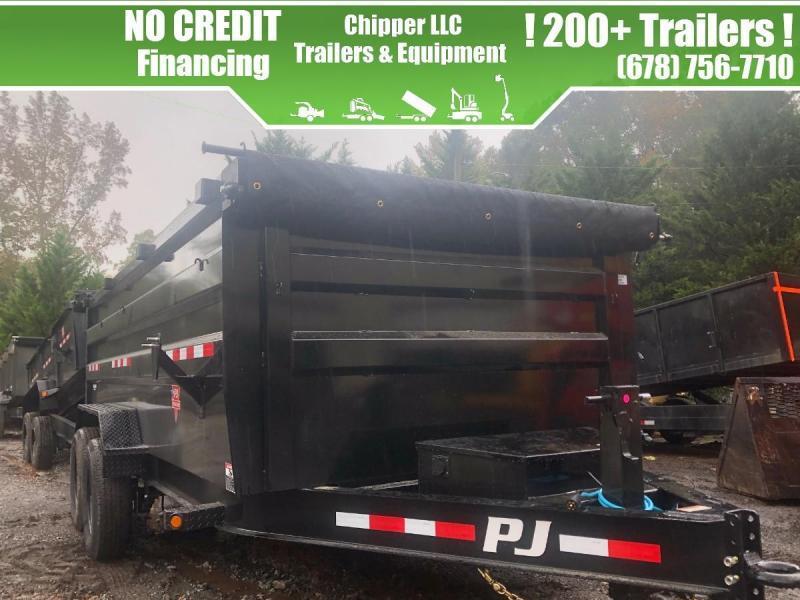 2021 PJ 7x16 14K 4ft Barn Door Spread Gate Dump Trailer