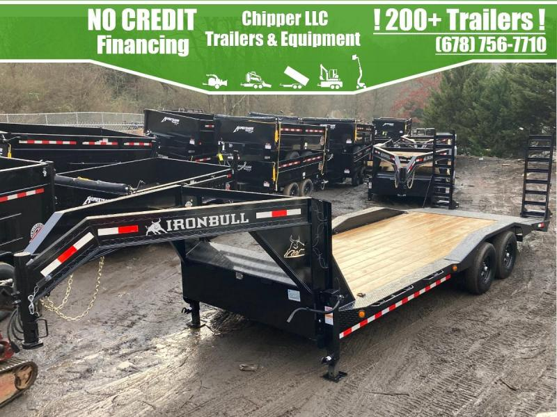 2021 Ironbull 8.5x20 14k Gooseneck Driveover Equipment Trailer Stand Up Ramps