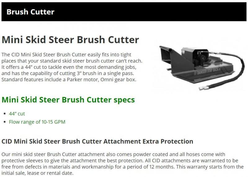 "2021 44"" Mower CID MTBC MT55/MT85 Mini Skid Steer Attachment"