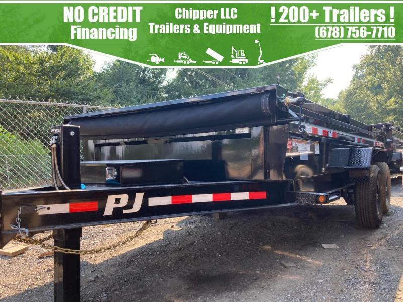 2022 PJ Trailers 7x16 2ft 14k Hydraulic Jack 7 Ton Low Pro Ramps Scissor Dump Trailer