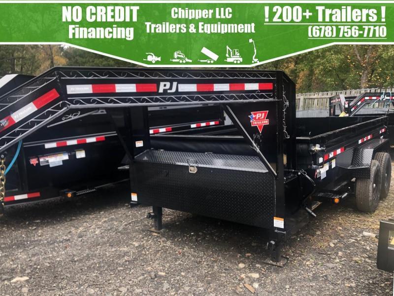 2021 PJ 7x16 14K 7 Ton 2ft Gooseneck Barn Door Spread Gate Dump Trailer