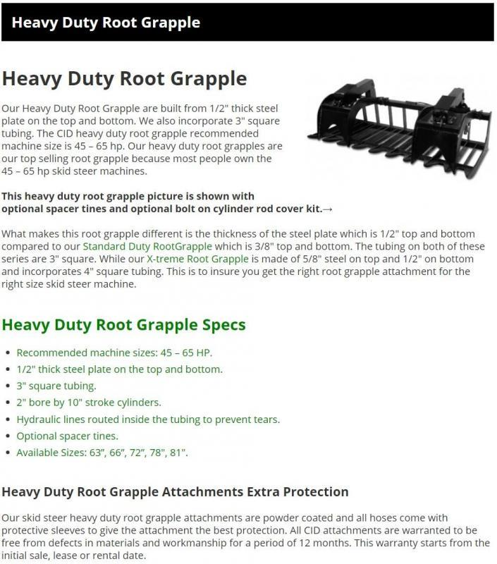"""2021 60"""" CID HD Root Grapple HDR60 Skid Steer Attachment"""