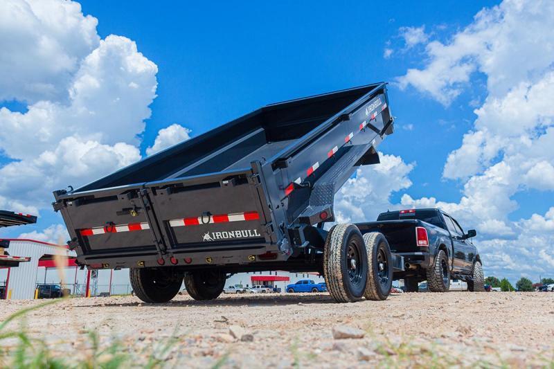 2022 Iron Bull 7x14 2ft 14k 7 Ton Low Pro Scissor Ramps Gray Dump Trailer