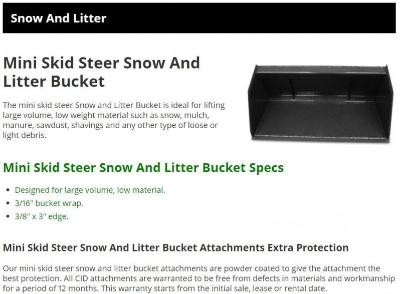 "2021 48"" mulch bucket CID DSNLB48 Mini Skid Steer Universal Attachment"