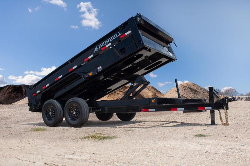 2022 Iron Bull 7x16 2ft 14k 7 Ton Ramps Scissor Barn Doors Dump Trailer
