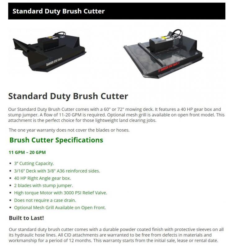 "2021 72"" CID Standard Brush Mower, 11-20 GPM 3"" cutting capacity SBC72 Skid Steer Attachment"