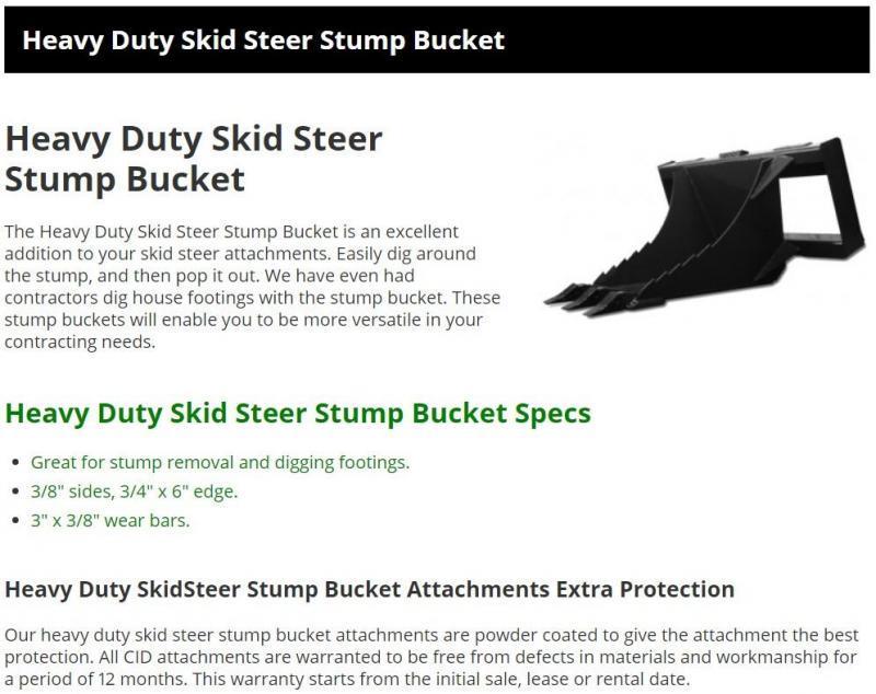 2021 CID Stump Bucket MTSB MT55/MT85 Mini Skid Steer Attachment