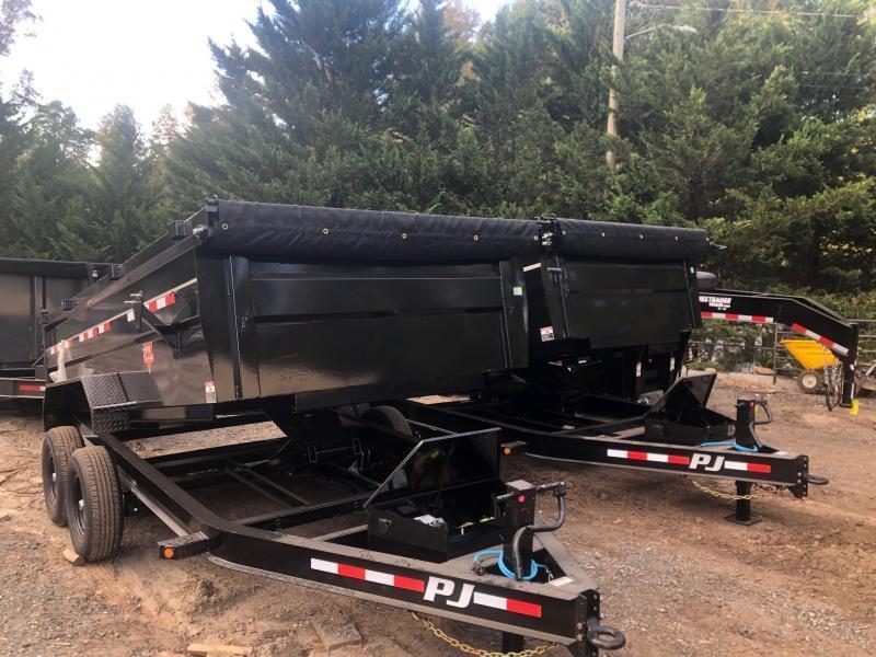 2022 PJ 7x14 3ft 14k 7 Ton Scissor Lift Ramps Dump Trailer