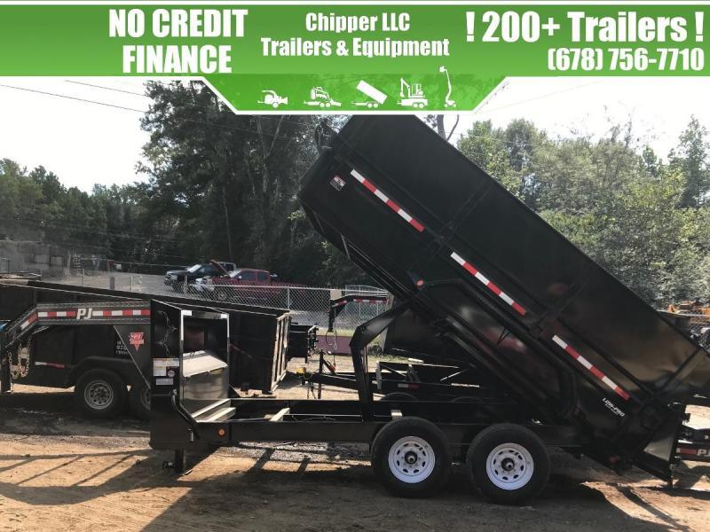 2021 PJ 7x16 15.6K 4ft Gooseneck Barn Door Spread Gate Dump Trailer