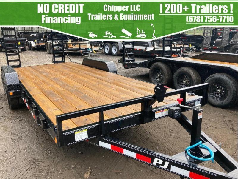 2021 PJ 7x20 10K 5 ton Equipment Trailer Fold Up Ramps