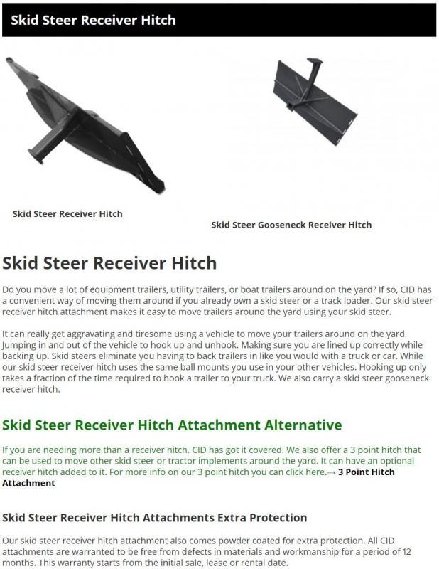 2021 CID Hitch Plate - Skid Steer Receiver Hitch RH Skid Steer Attachment