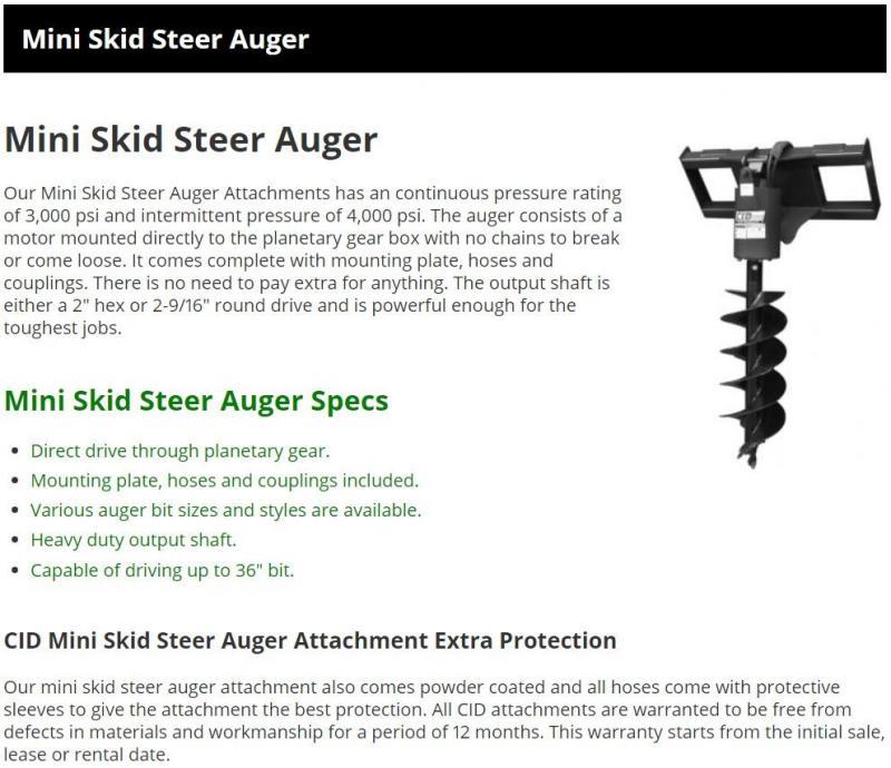 2021 CID DXADH Dingo Auger Mini Skid Steer Universal Attachment