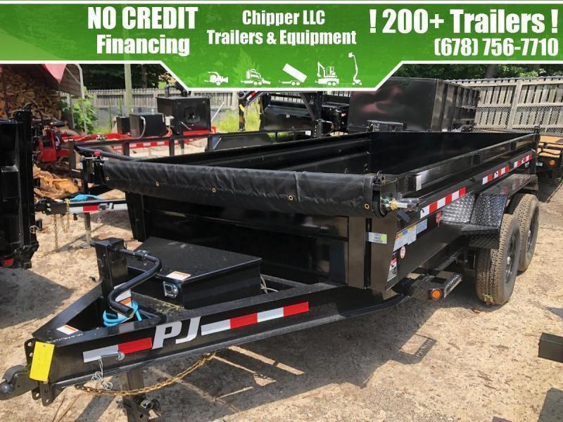 2022 PJ Trailers 7x14 2ft 14k 7 Ton Low Pro Ramps Scissor Dump Trailer Hydraulic Jack