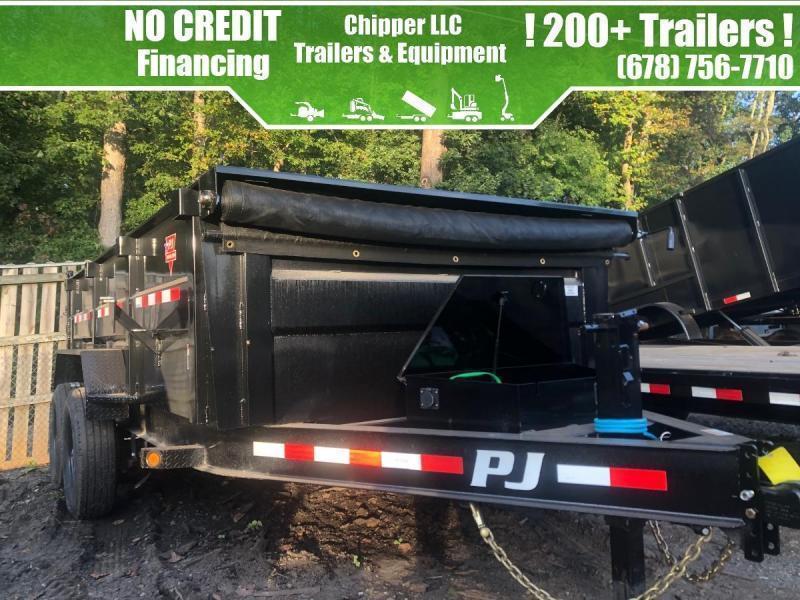 2022 PJ 7x16 3ft 14k 7 Ton Hydraulic Jack Scissor Lift Ramps Dump Trailer