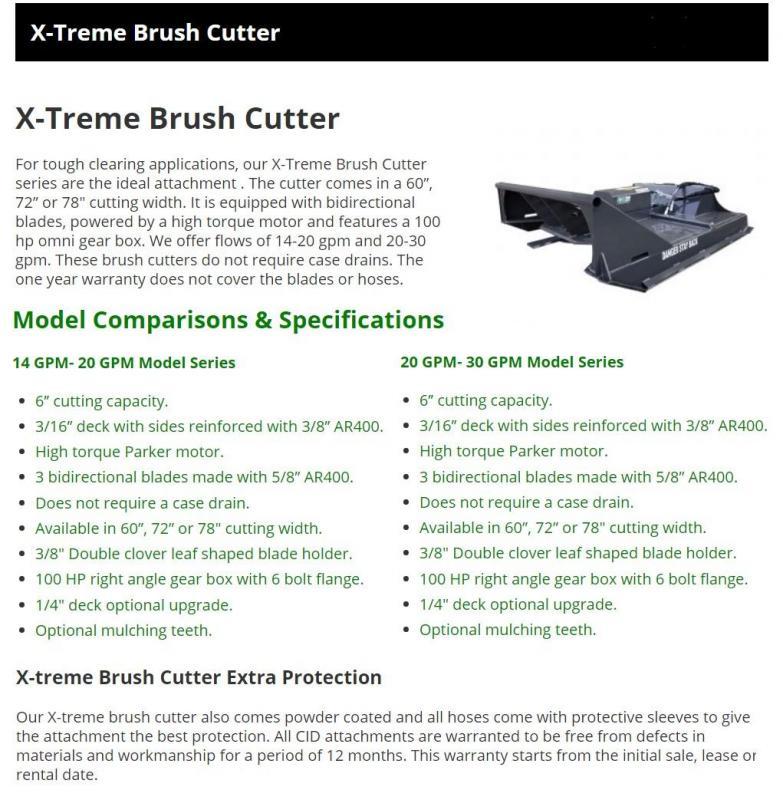 "2021 72"" CID X-Treme Brush Mower, 20-30 GPM 6"" cutting capacity XBC72MF Skid Steer Attachment"