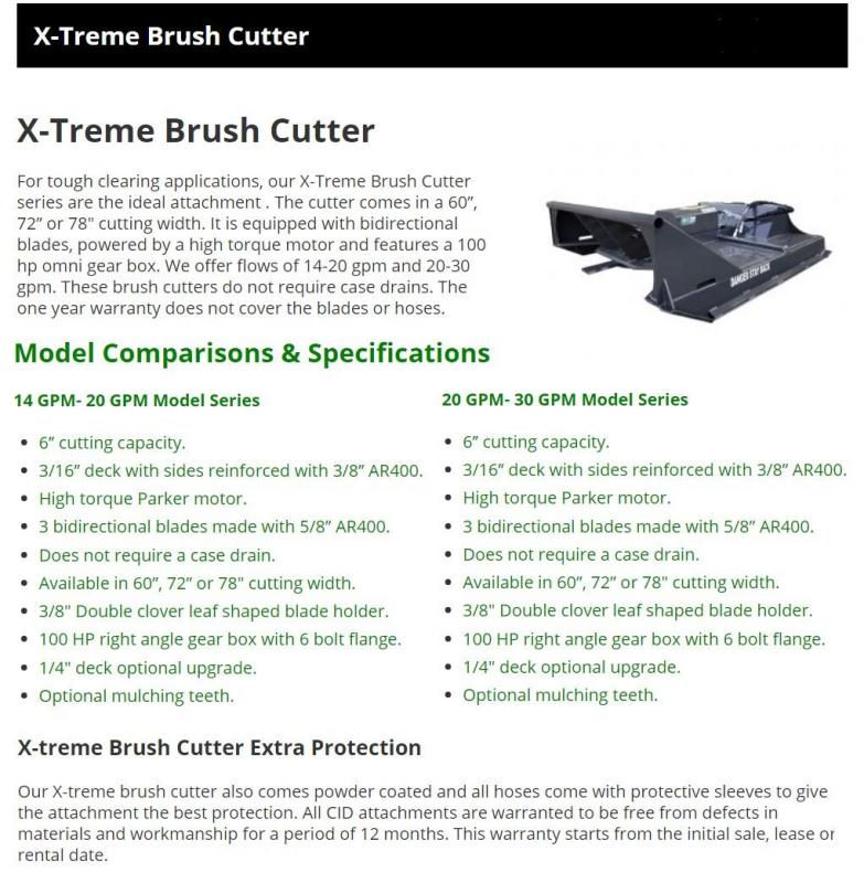 "2021 72"" CID X-Treme Brush Mower + Mulching Teeth, 14-20 GPM 6"" cutting capacity XBC72LFMT Skid Steer Attachment"