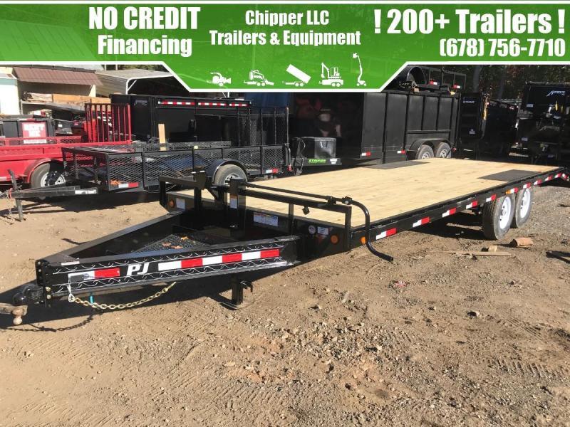 2021 PJ 8.5x20 14k Deckover Equipment Trailer Fold Up Ramps