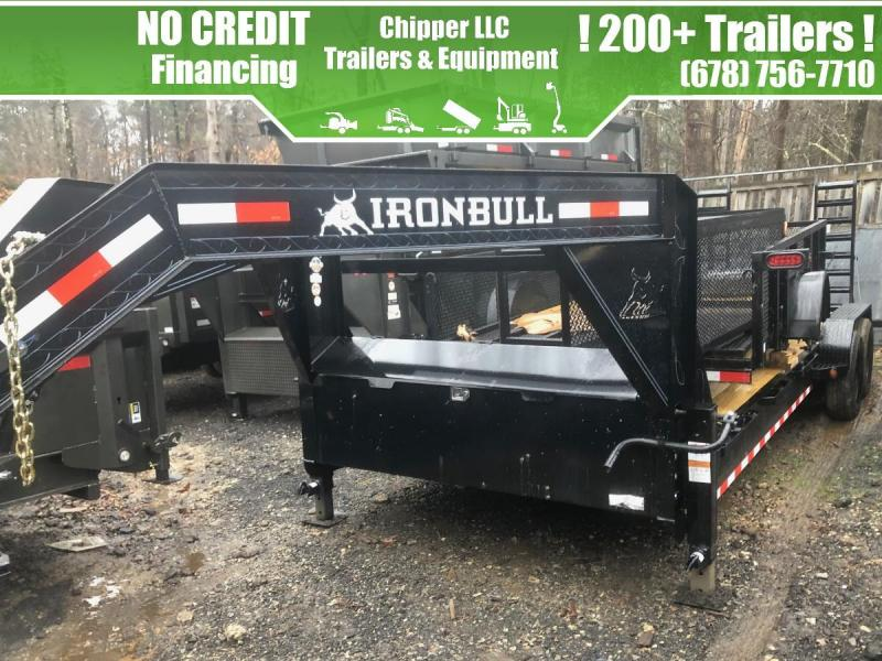 2021 Ironbull 7x24 14k Gooseneck Equipment Trailer Stand Up Ramps