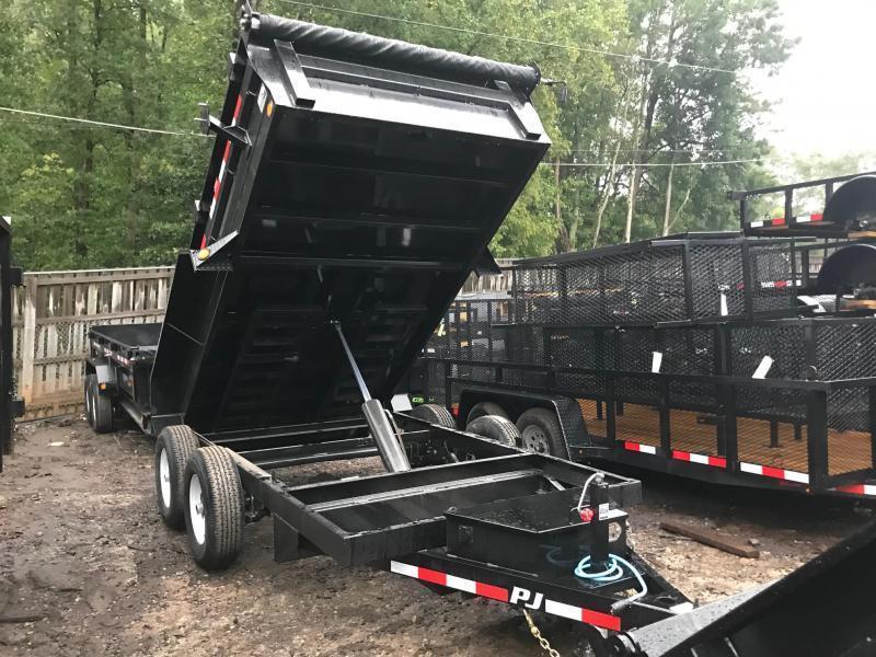 2021 PJ 6x12 10K 2ft Barn Door Ramps Dump Trailer