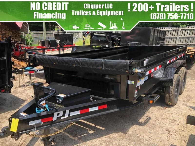 2022 PJ Trailers 7x16 16k 2FT 8 Ton Low Pro Ramps Scissor Dump Trailer