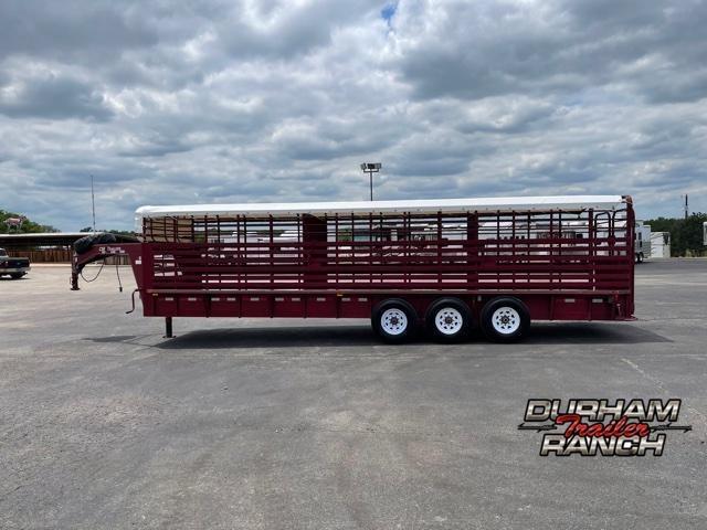 2012 CM 28 FT Tarp Top Livestock Trailer