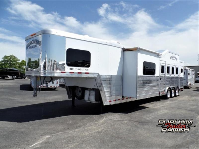 "2018 Bloomer 4H w/ 15'11"" Short Wall LQ and 6' Hyd. Slide Out Horse Trailer"