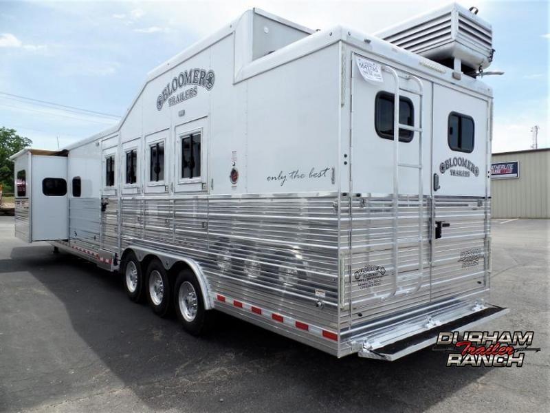 """2018 Bloomer 4 Horse PC Load Outlaw Conversion 16'9"""" SW and 6' Hyd. Slide Out Horse Trailer"""