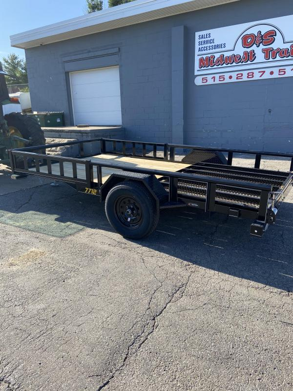 2021 Doolittle 77x12 Single Axle Utility Trailer W/ATV Sides