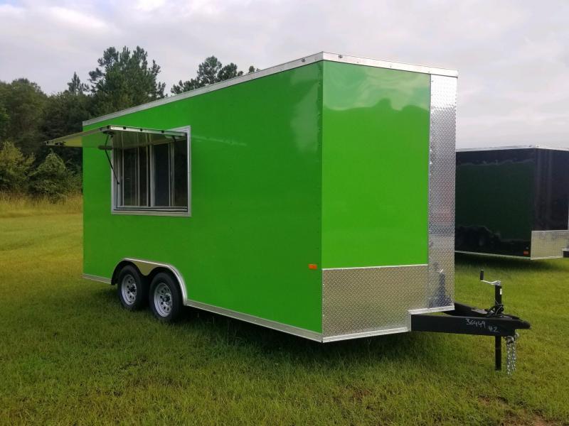 8.5x16 Green 7' Interior Vending / Concession Trailer