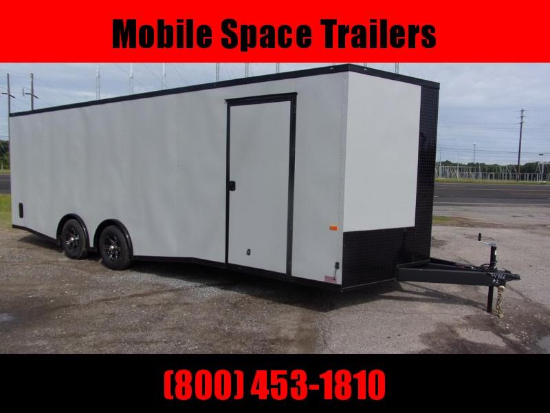8.5x24  7' Grey Blackout Spread axles ramp door Enclosed Cargo