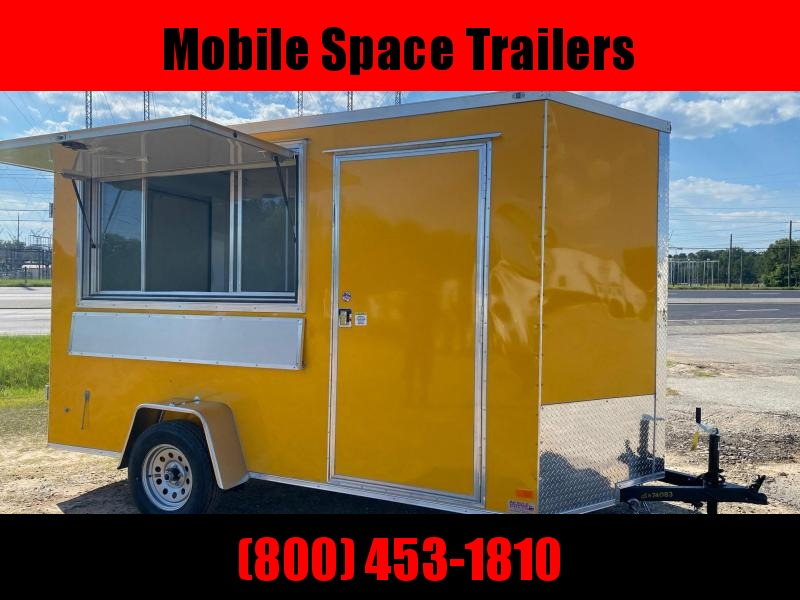 Covered Wagon Trailers 6x12 7' 3x6 Glass & Screen Window Yellow Finished Interior w/ Electric Enclosed Cargo Concesion